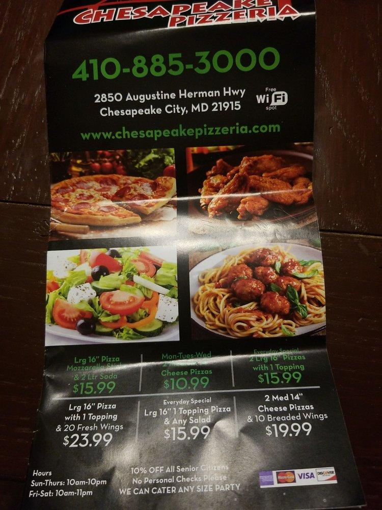 Chesapeake Pizza Pizza 2850 Augustine Herman Hwy Chesapeake City Md Restaurant Reviews Phone Number Menu Yelp