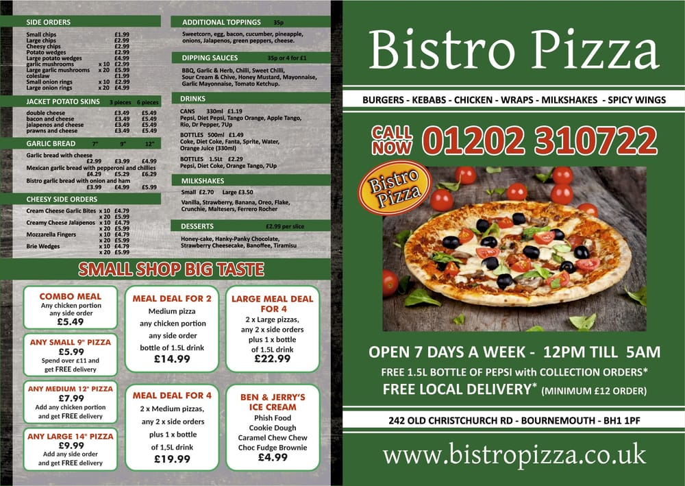 Bistro Pizza Pizza 240 242 Bournemouth Restaurant