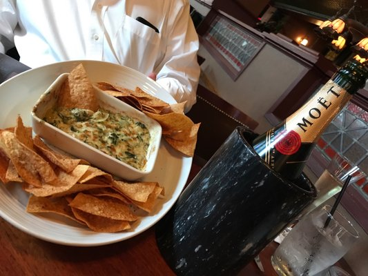 Photo of Gandy Dancer Saloon - Pittsburgh, PA, US. Imperial Moët and crab, spinach and artichoke dip