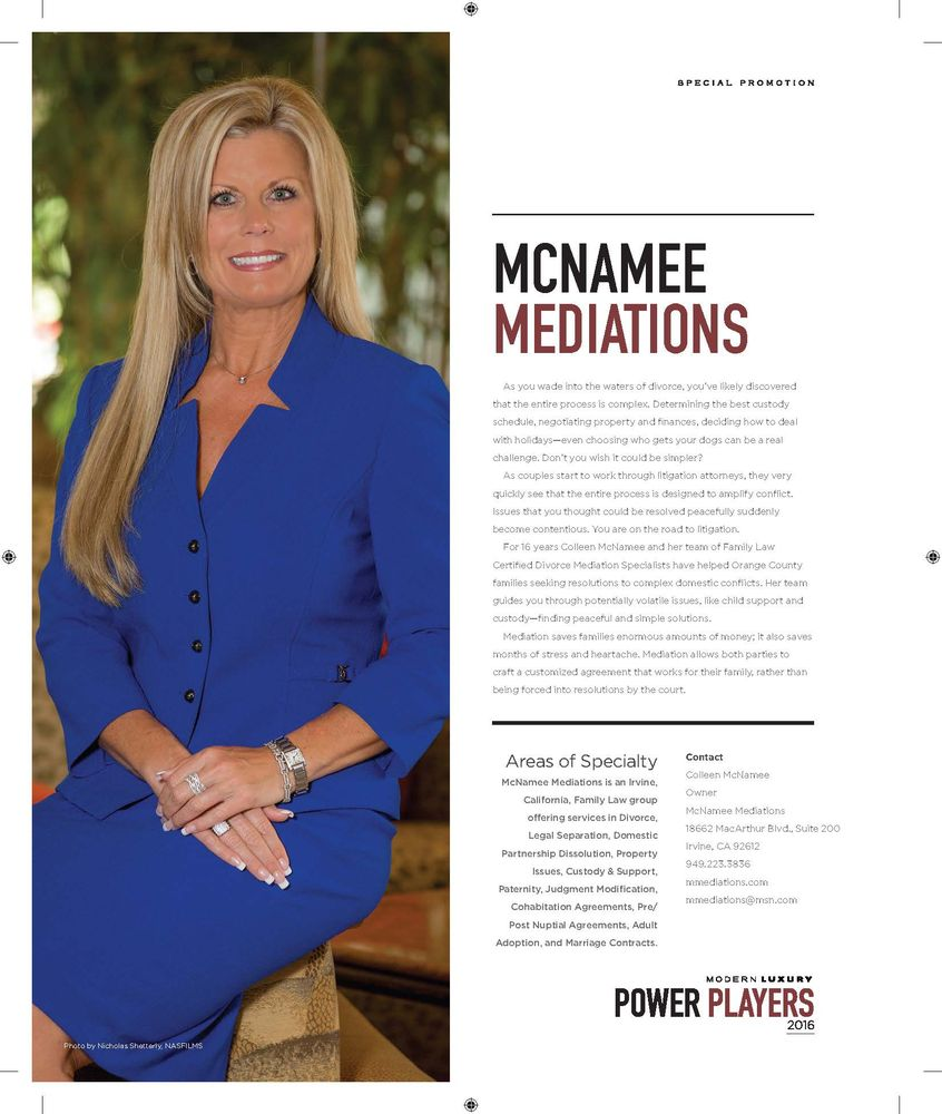 Photo of McNamee Mediations - Irvine, CA, United States. 2016 Top Legal Power Players in O.C.