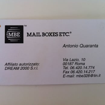 Mail Boxes Etc Shipping Centers Via Lazio 10 Termini Roma Italy Phone Number Yelp