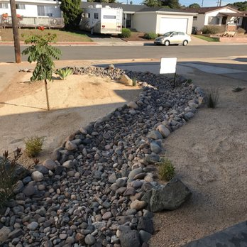 Dry Riverbed Xeriscape Landscape In