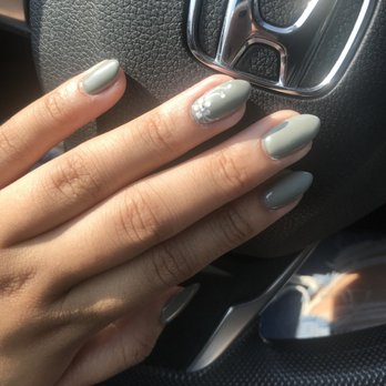 June Did A Almond Shape With Gel Color Nail Polish Olive