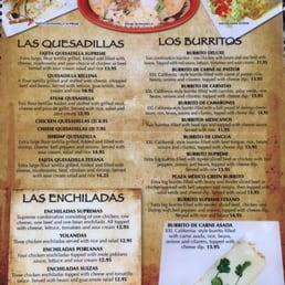 Plaza mexico menu