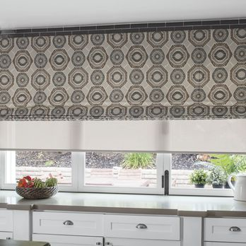 Great Kitchen Solution Layering Fabric Roman Shades Over