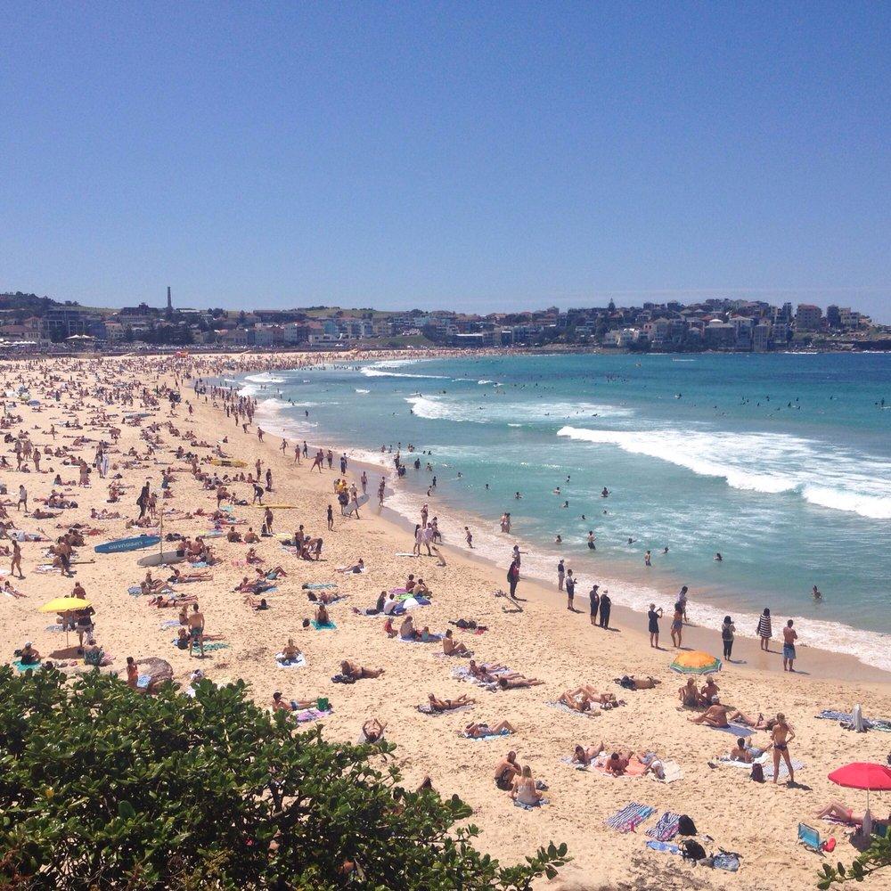 Crowded Beach On A Hot Day At Bondi Beach, Sydney