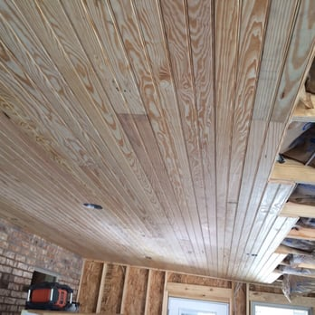 Installment Of A Tongue And Groove Porch Ceiling Yelp