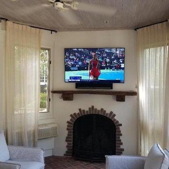 Outdoor Tv Mount With Soundbar Installation On Brick Fireplace Yelp