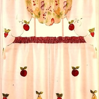 Mixed fruit embroidered applique, gingham, kitchen curtains ...