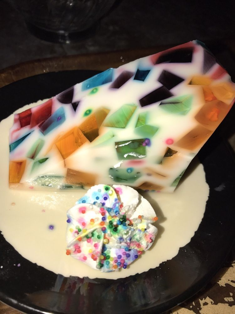 The Stained Glass Jello. Served With  Stained Glass Whipped Cream. Awesomely Delicious & So Cool to look at. U Have to Try it!