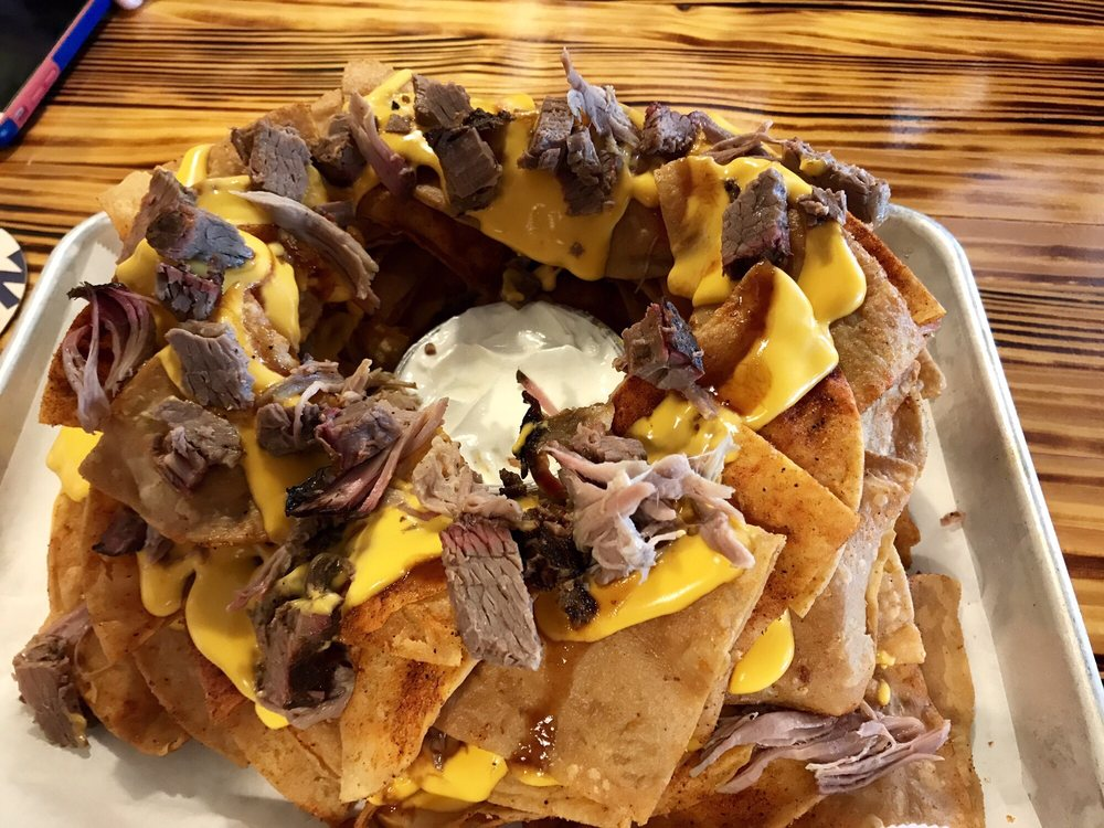 These Nachos With The Pulled Pork And Brisket Are Amazing A