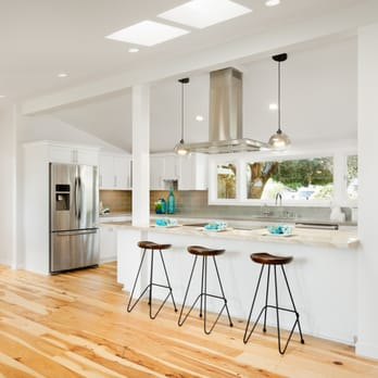 White Shaker style kitchen Cabinets, Hickory Hardwood floors ...