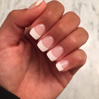 Fiberglass French Manicure with Gel Topcoat. Natural square