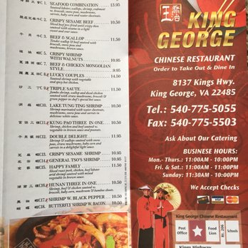 King George Chinese Restaurant Takeout Delivery 12 Reviews Chinese 8137 Kings Hwy King George Va Restaurant Reviews Phone Number Yelp