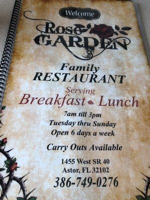Rose Garden Family Restaurant 1455 W State Road 40 Astor Fl Restaurants Mapquest