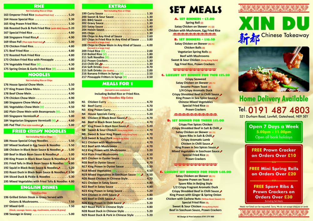 Xin Du Chinese Takeaway Food Delivery 519 521 Durham