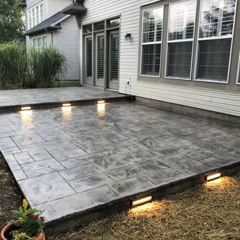 Stamped Concrete Patio With Step Lights Yelp