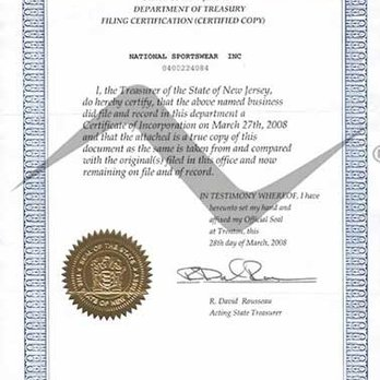 Our New Jersey I D Corporation Certificate National