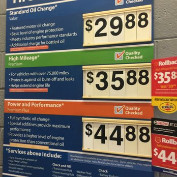 Walmart Oil Change Price >> Oil Change Services And Prices Yelp