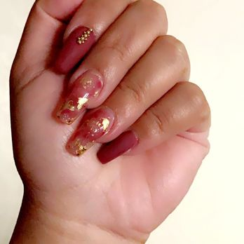 Coffin Red Nails With Gold Foil