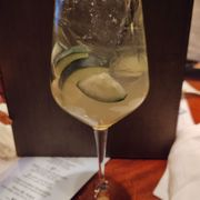 Photo of Gandy Dancer Saloon - Pittsburgh, PA, United States. Sparkling sangria, surprising and interesting with cucumbers.