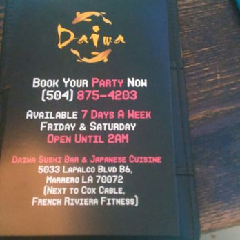 Daiwa Takeout Delivery 623 Photos 215 Reviews Sushi Bars 5033 Lapalco Blvd Marrero La Restaurant Reviews Phone Number Yelp
