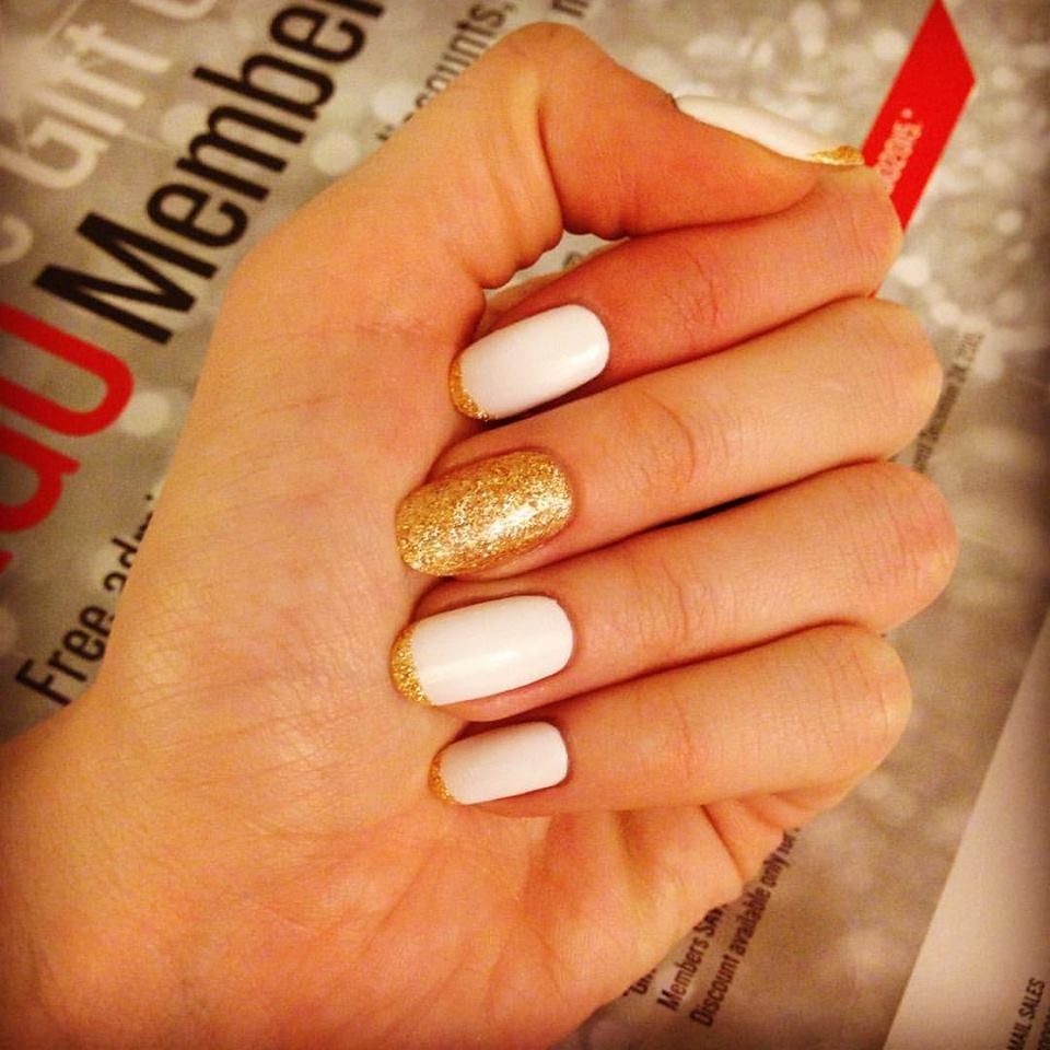 Gel holiday french with accent nail, round shaped, done on