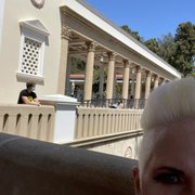 Photo of The Getty Villa - Pacific Palisades, CA, United States. A shady patio to enjoy the view of the Pacific.