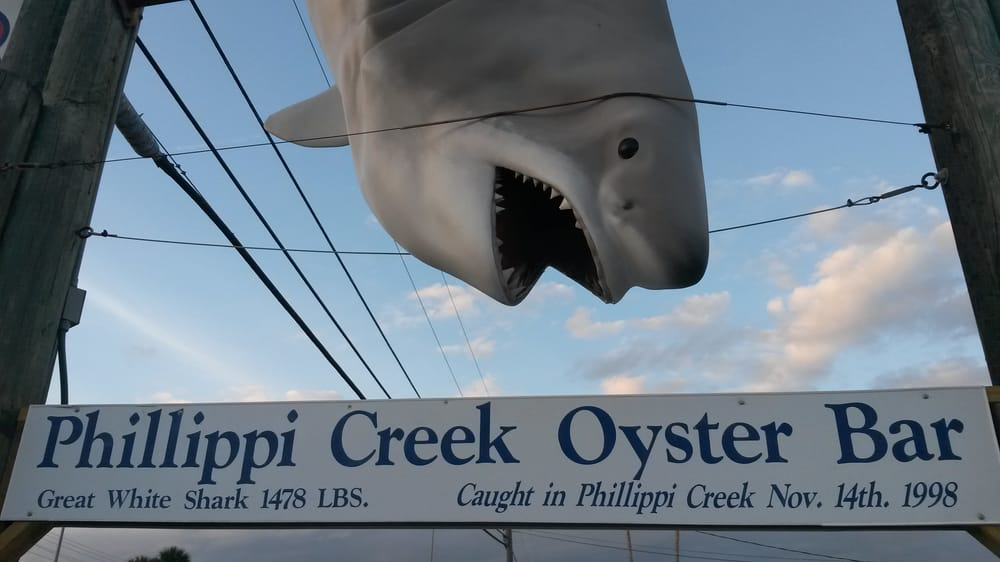Photo of Phillippi Creek Oyster Bar - Sarasota, FL, United States. The sign outside says not to let small children on the deck and not to feed the alligators.