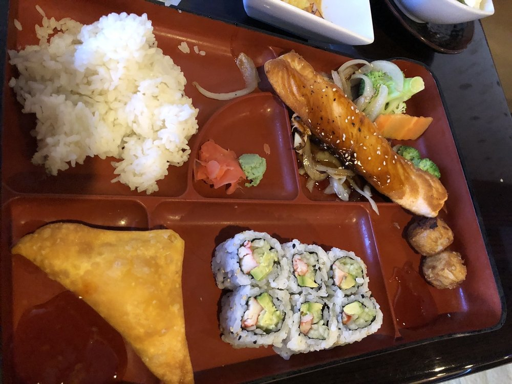 Photo of Sushi Hana - Bradenton, FL, United States. Bento box w/ teriyaki salmon