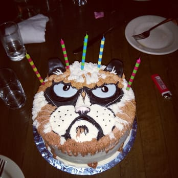 Stupendous My Sister Ordered Me A Chocolate Grumpy Cat Cake For My Birthday Funny Birthday Cards Online Elaedamsfinfo