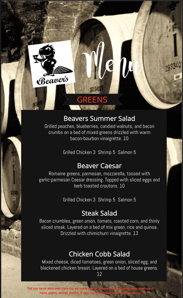 Online Menu of Beavers Pub Restaurant, Bay City, Michigan ...