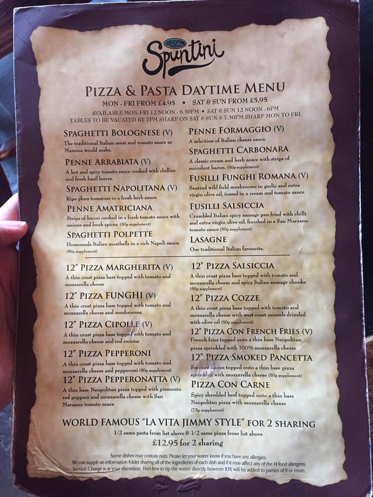 Pizzapasta Daytime Menu Yelp