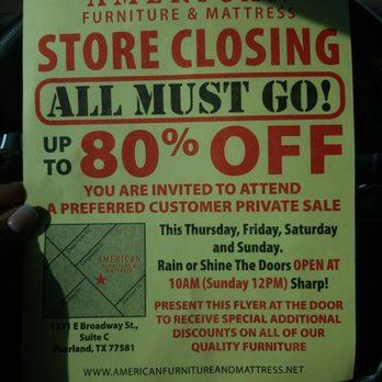 American Furniture Mattress Closed, American Furniture And Mattress Pearland Tx