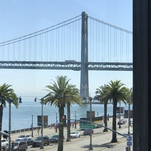 Photo of Hotel Vitale - San Francisco, CA, United States. One tower of the Bay Bridge outside my window.  Wait for the light show - all night long.