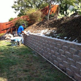 Retaining Wall Made From Premade Concrete Blocks Residential