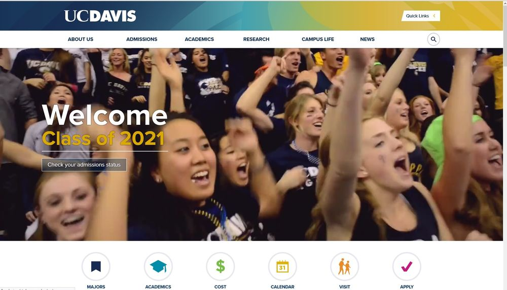 Photo of University of California - Davis - Davis, CA, United States. Class of 2021 doesn't have to wait for either the small rejection envelopes or the large brochure acceptance packages in the snail mail.