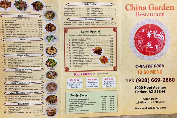 China Garden 1000 S Hopi Ave Parker Az Restaurants Mapquest