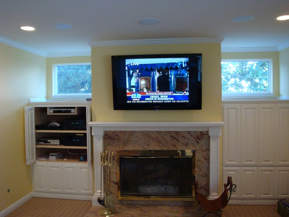 Wright Job Tv Over Fireplace Components In Built In Cabinet In