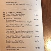Photo of Flour + Water Pizzeria - San Francisco, CA, United States. Drinks menu