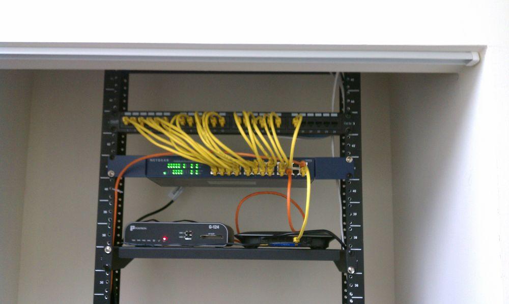 Small office Ethernet wiring + rack in wiring closet - Yelp on dart rack, conduit rack, audio rack, painting rack, electrical rack, hollywood rack, wood rack, controller rack, power rack, cable rack, harness rack, transmission rack, switch rack,