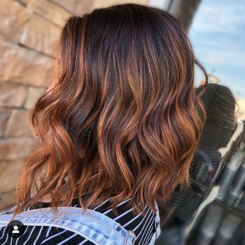 Long Bob Hair Cut Copper Balayage Yelp