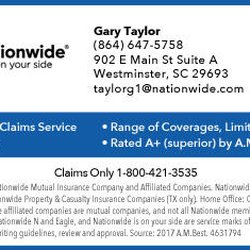 Nationwide Claims Phone Number >> Gary Taylor Insurance Nationwide Insurance Phone Number