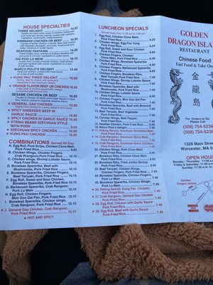 golden dragon worcester ma menu