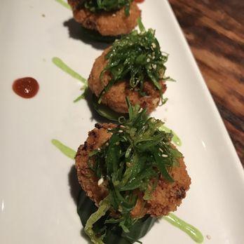 Tokyo Crab Cakes with Seaweed Salad topping. Yum. , Yelp
