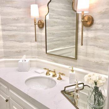 Powder bathroom. Wallpaper. Marble quartz. Brass fixtures ...