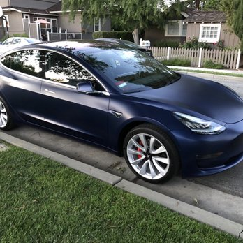 Blue Tesla Model 3 With Xpel Stealth And Cquartz Finest