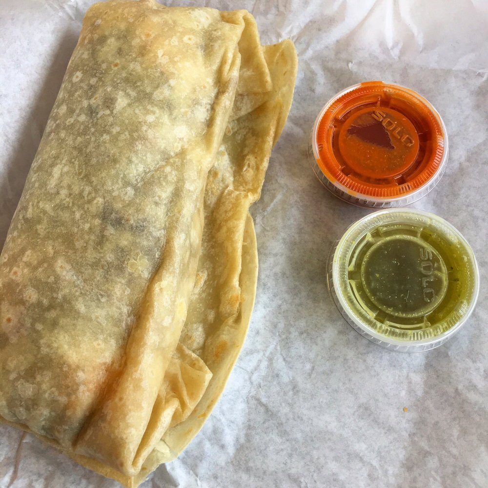 Photo of Roberto's Mexican Food - Leucadia - Encinitas, CA, United States. California Burrito (7-8-17) (plus sauces (free))