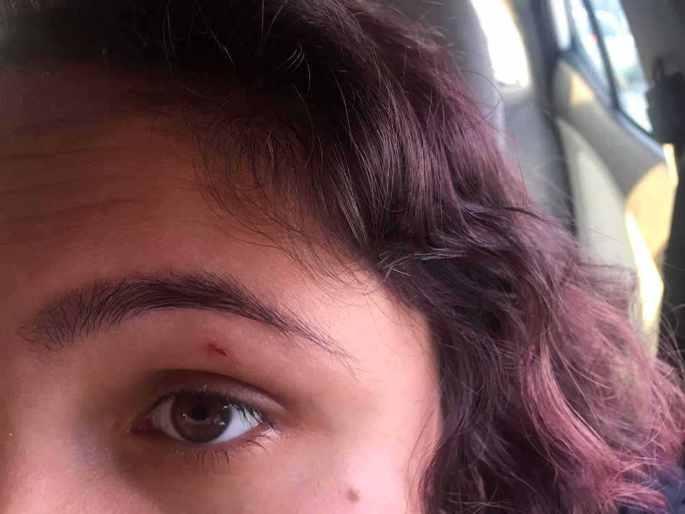 Went to get my eyebrows and lip done and she cut my eye. I ...