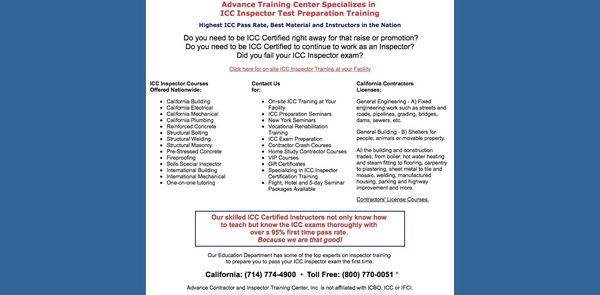 Advance Contractor And Inspector Training Center 501 N